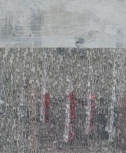 2006 Tokyo  Acryl, Pigment, Marker, Zeitung auf Hartfaserplatte 60 x 50 cm