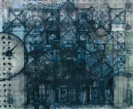 Plan 1996  Oel/Kohle/Kreide aufLeinwand 113 x 135 cm