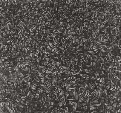 Stadtbild 1995  Kohle aufLeinwand 175 x 190 cm