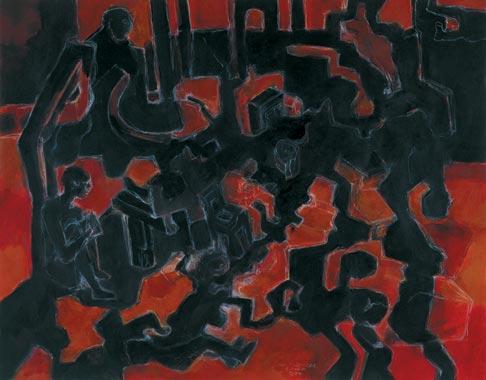 Gedankengang 1994  Kreidestift/Pigment auf Papier 51 x 65 cm