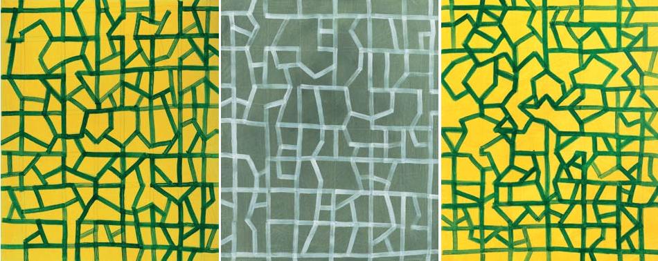 Konstruktion 2003 Tryptichon  Acryl auf Leinwand jeder Teil 60 x 50 cm