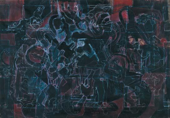 Kreuzgang 1994  Kreidestift/Pigment auf Papier 70 x 100 cm