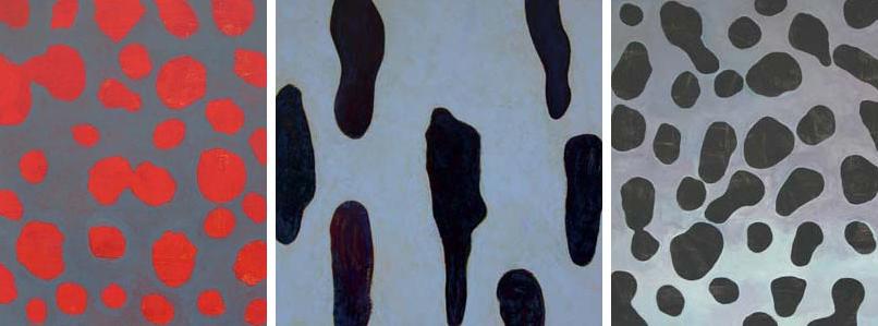 2006 Tokyo  Acryl und Pigment auf Hartfaserplatte 60 x 50 / 60 x 60 / 60 x 50 cm