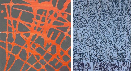 2006 Tokyo  Acryl und Pigment auf Hartfaserplatte und Leinen 60 x60 / 60 x 50 cm