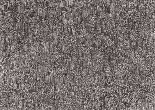 Ansicht 1996  Kohle auf Leinwand 128 x 178 cm