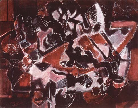 Nachtschwärmer 1994  Pigment/Kreide auf Papier 52 x 65 cm