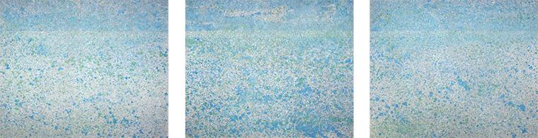 Triptychon Spiegelung/Horizont 2011  Acryl auf Leinen 112 X 135cm 112 x 135cm 112 x 135cm