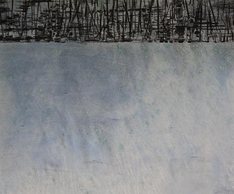 Spiegelung 2010  Kohle und Acryl auf Leinen 112 x 135 cm