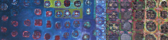 Orient 2007  Acryl-Pigment-Japanische Zeitung auf Holz 96 x 23.5 cm