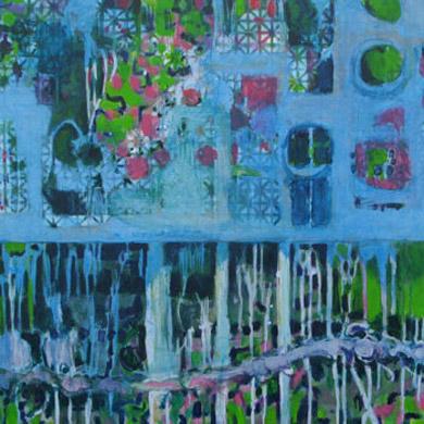 Blauer Schatten 2007  Acryl-Pigment auf Hartfaserplatte 60 x 60 cm
