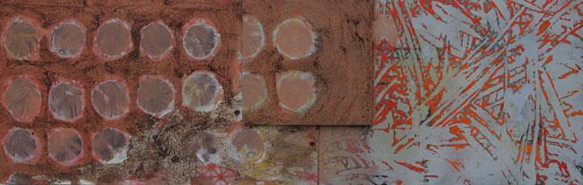 Kaffeepause 2007  Acryl-Pigment-Kaffee-Japanische Zeitung auf Holzplatte 109 x 35 cm