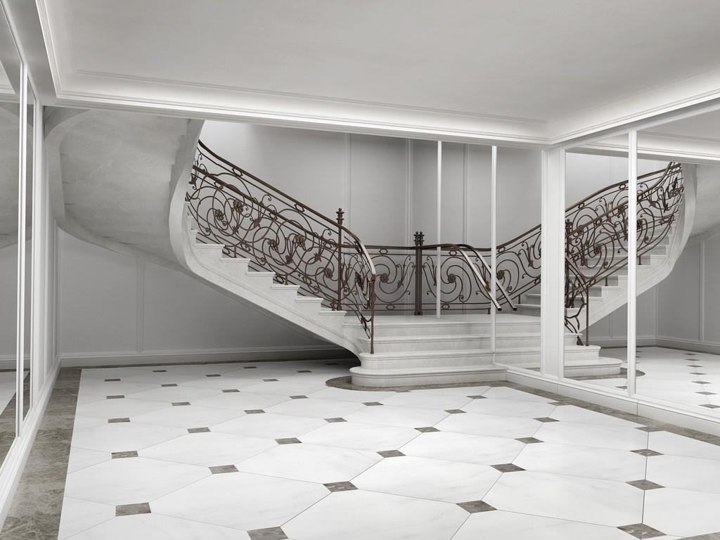Визуализация лестничного холла (подвал)