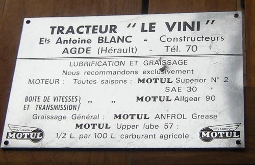 Plaque d'un Le Vini pour la lubrification et le graissage