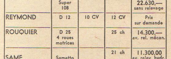 Septembre 1960 tracteur roues diesel