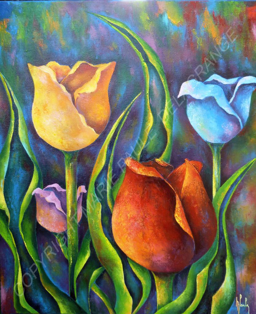 """"""" Variations de tulipes """"    huile sur toile     46 x 55"""