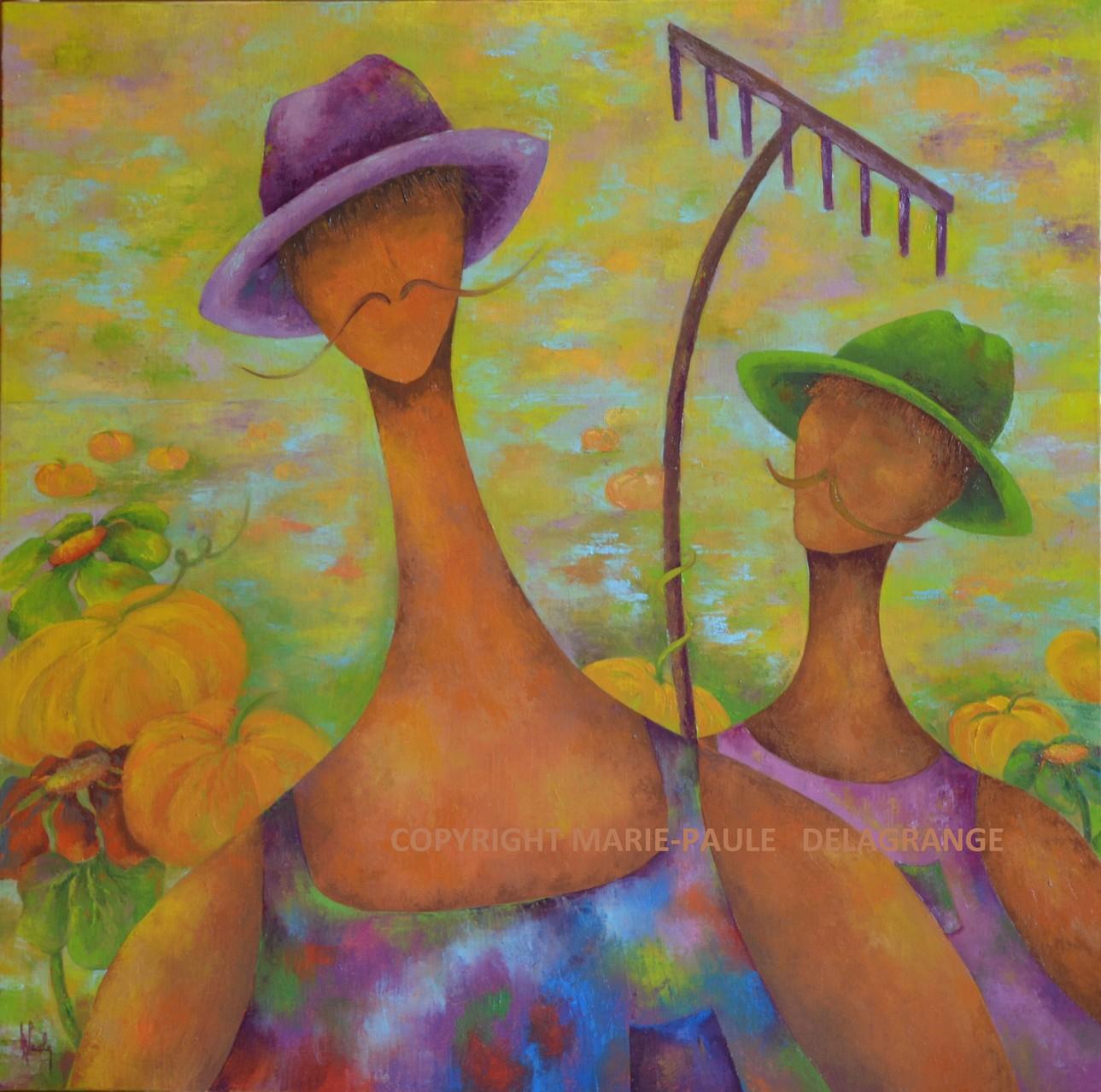 """""""   Les jardiniers   """"       huile sur toile           80  x  80"""
