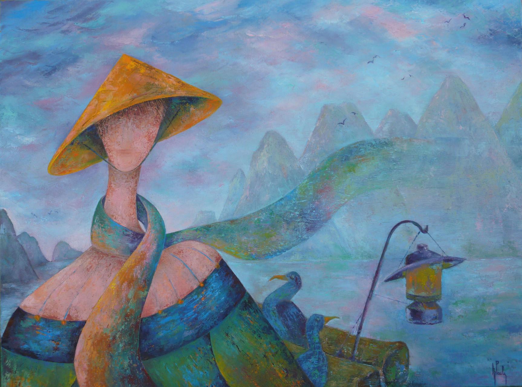 """""""    Guilin       """"              huile sur toile           80  x  60"""