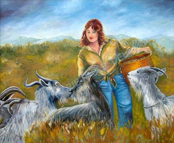 """"""" Chèvres dans la garrigue """"    huile sur toile     45 x 37"""