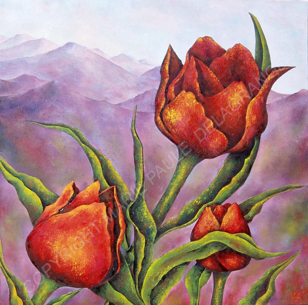 """"""" Tulipes au sommet """"     huile sur toile     90 x 90"""