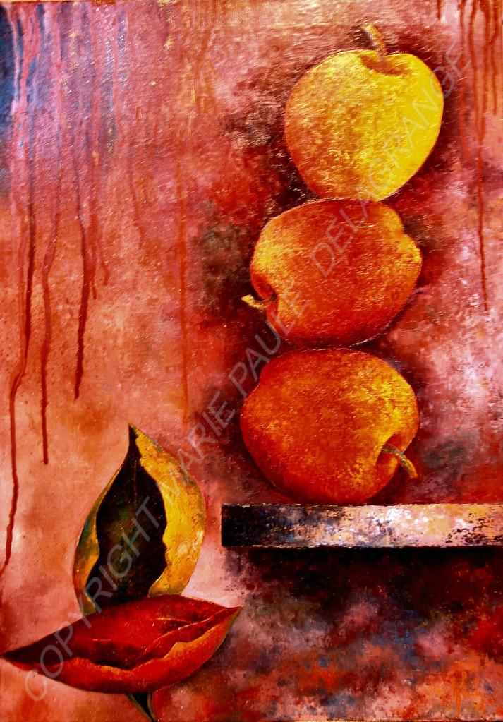 """"""" Trois pommes en escalade """"   huile sur toile"""