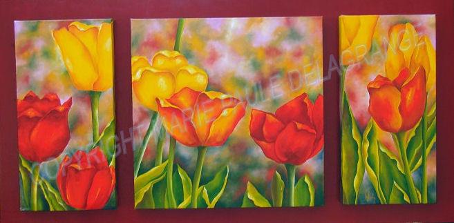 """ Tulipes ""     huile sur toile           98 x 50"