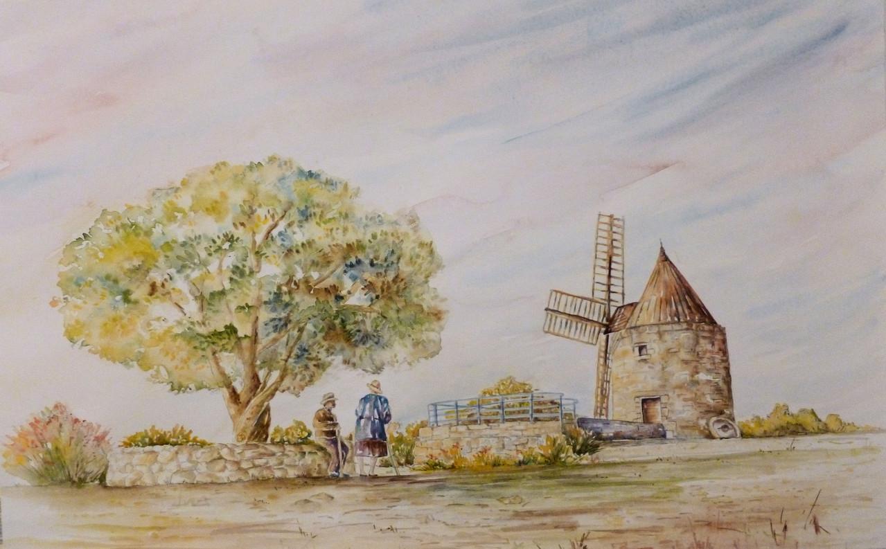 """""""  Auprès du moulin  """"     52  x  74"""