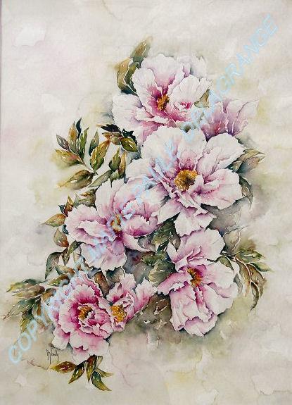 """"""" Bouquet de pivoines """"   36 x 59"""