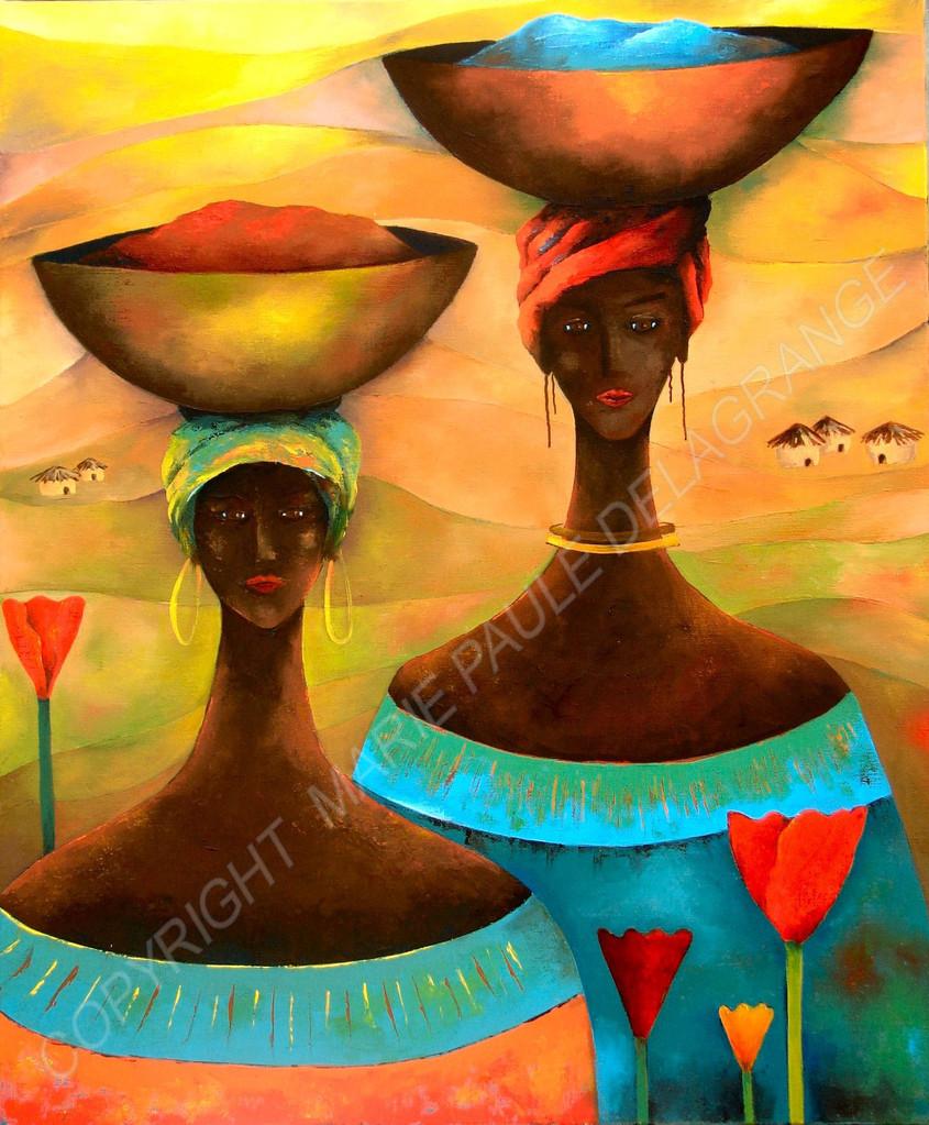 """ Femmes girafes ""    huile sur toile     54 x 65"