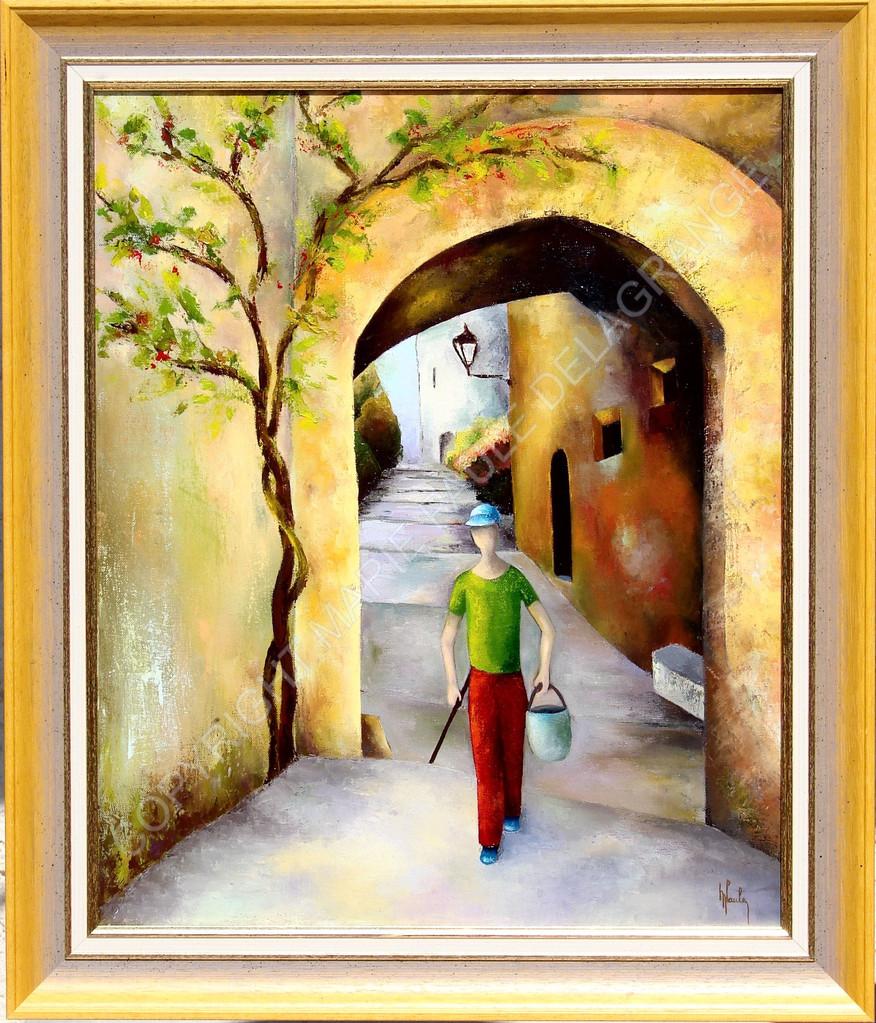 """"""" Dans mon village """"     huile sur toile      49 x 60"""