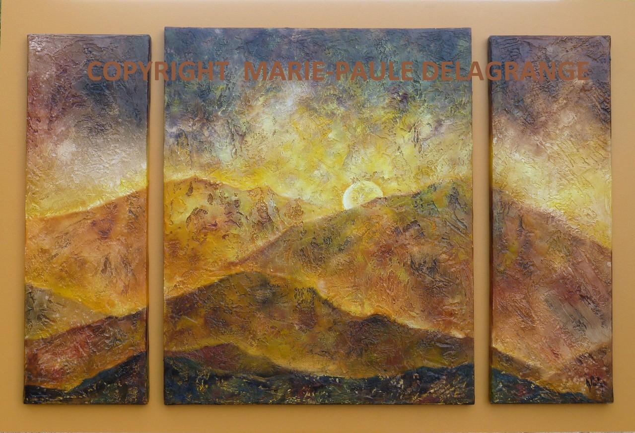 """""""  Coucher de soleil """"     huile sur toile    70  x  108"""