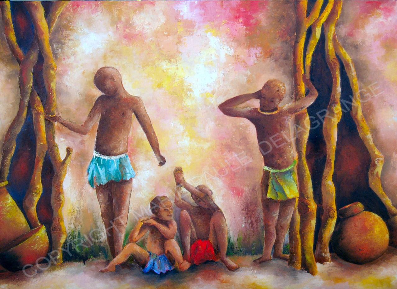 """"""" Jeux africains """"  huile sur toile      61 x 38"""