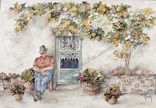 """ Sieste sous le rosier ""       36 x 46"