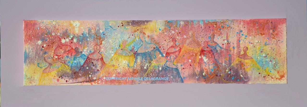 """"""" Valse des Anges """"    huile sur toile fixée sur cadre bois    93 x 34"""