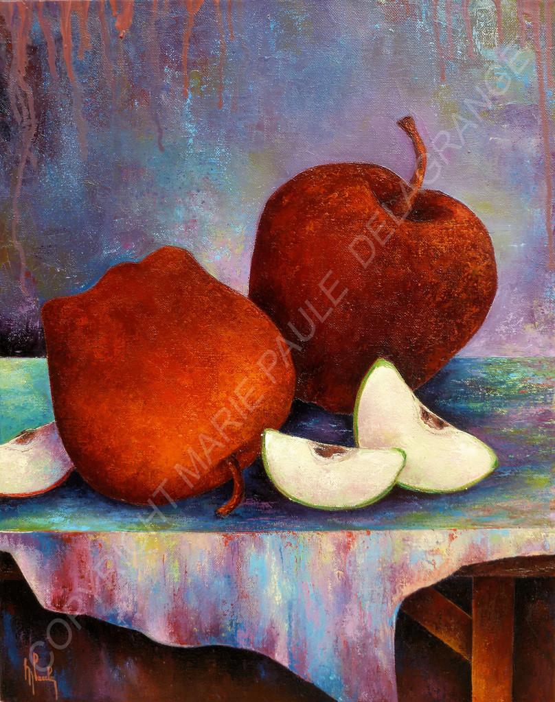 """"""" Tronches de pommes """"   huile sur toile     40 x 50"""