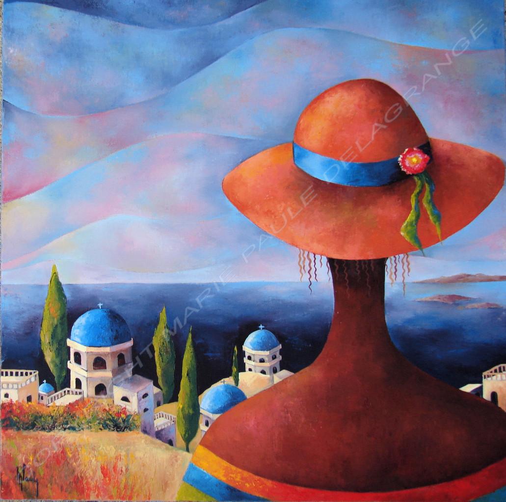 """"""" Balcon sur mer Egée """"       huile sur toile         50 x 50"""