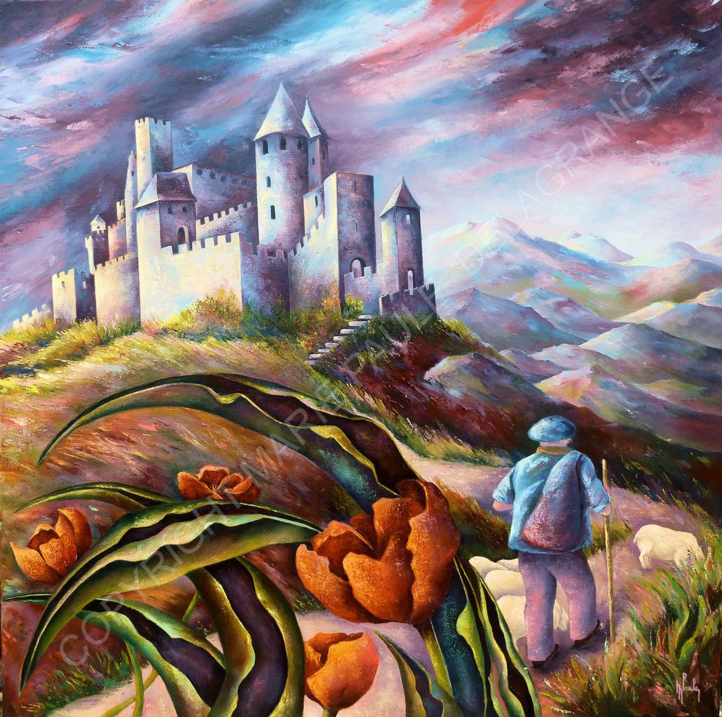 """"""" Carcassonne """"      huile sur toile       80 x 80"""