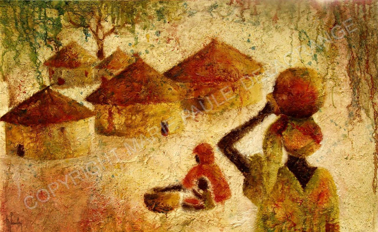 """"""" Retour au village """"   huile sur toile     61 x 38"""