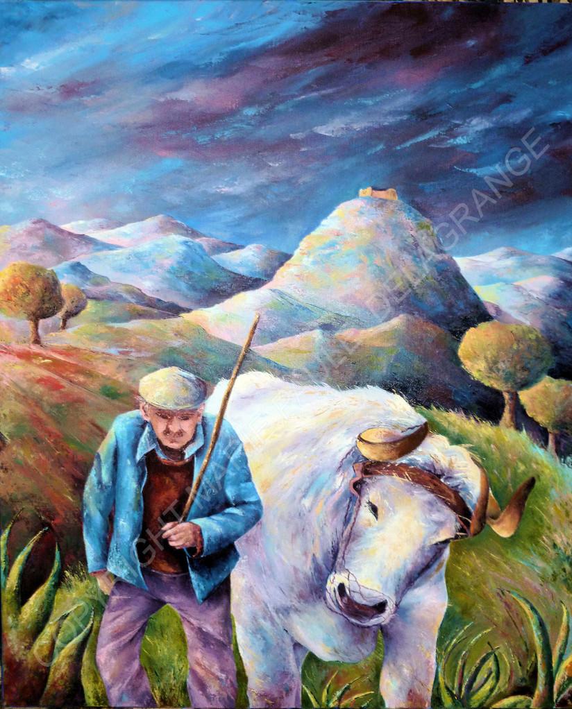 """"""" Retour à la ferme """"   huile sur toile    60 x 72"""