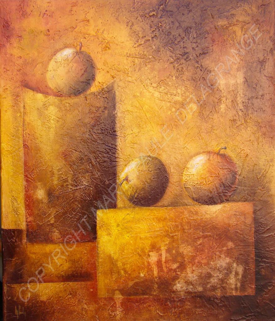 """"""" Pommes en équilibre """"   huile sur toile     50 x 60"""