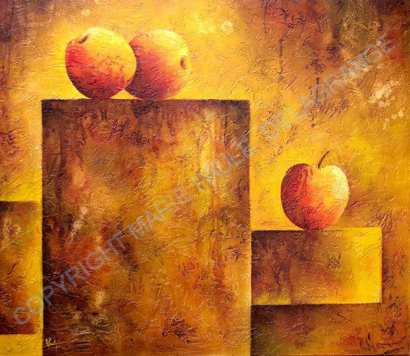 """"""" Trois pommes stars """"   huile sur toile       80 x 80"""