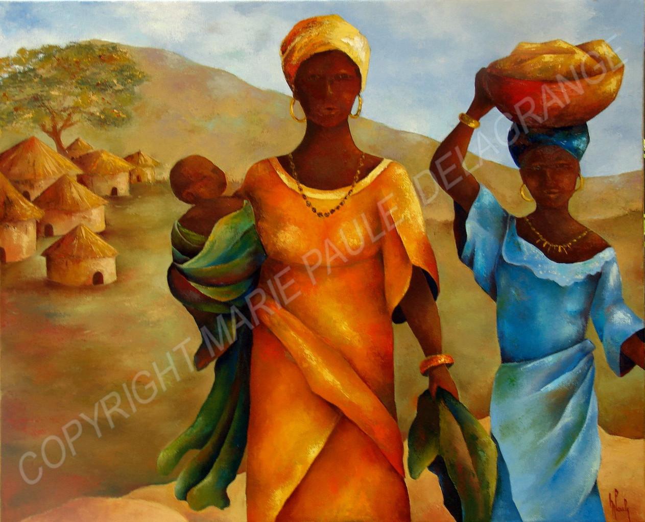 """"""" Femmes à l'enfant """"   huile sur toile    61 x 50"""