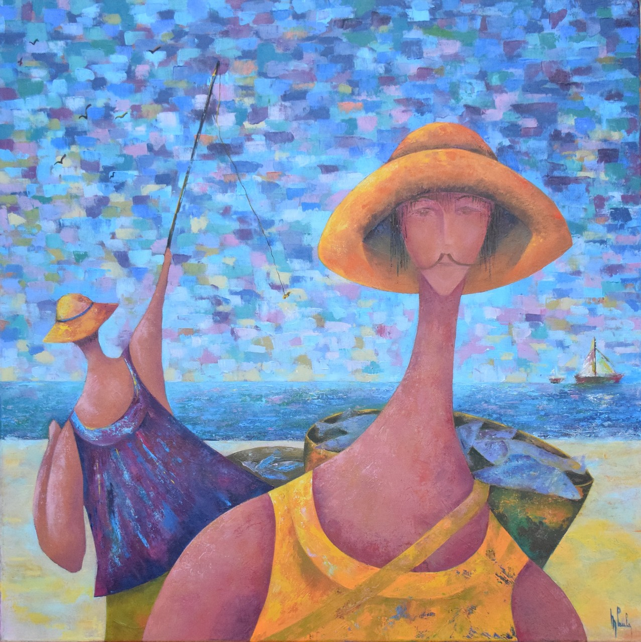 """""""  Les Pêcheurs  """"          huile sur toile           30  x  30"""