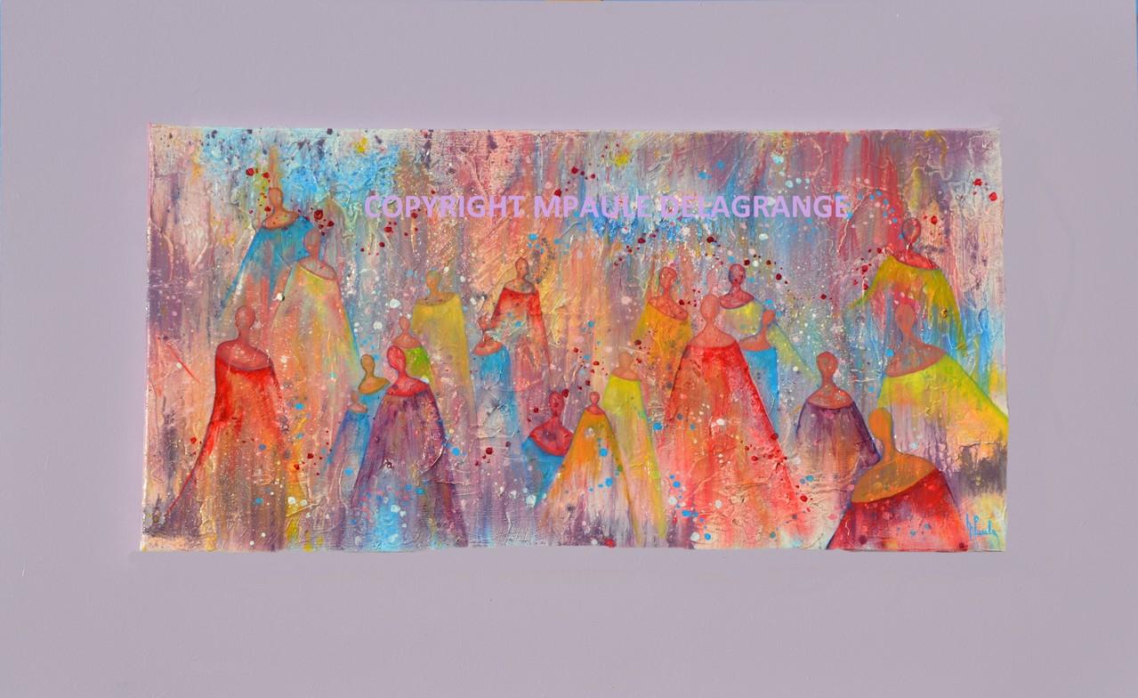 """"""" Anges gardiens  """"    huile sur toile fixée sur cadre bois    80 x 50"""
