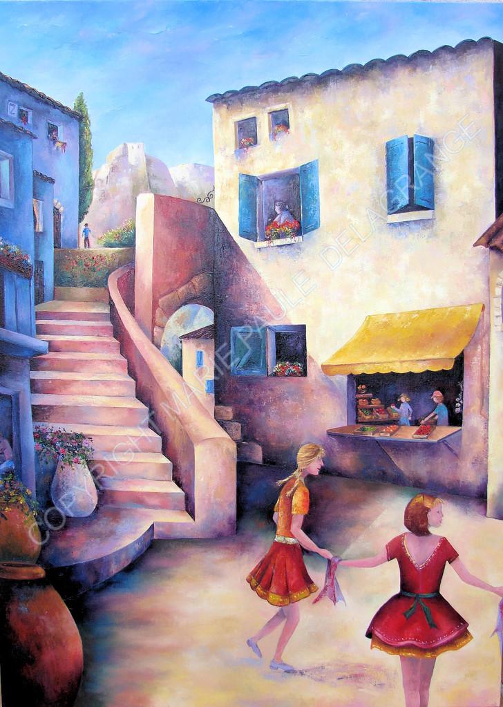 """"""" La danse du foulard """"    huile sur toile    73 x 100"""