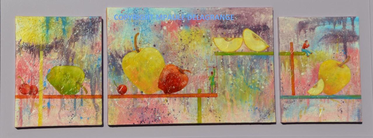 """""""  Grenier des fruits  """"   huile sur toile     125  x  50"""