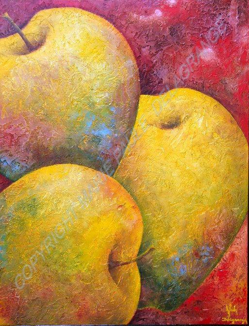 """"""" Trois grosses pommes """"   huile sur toile    70 x 90"""