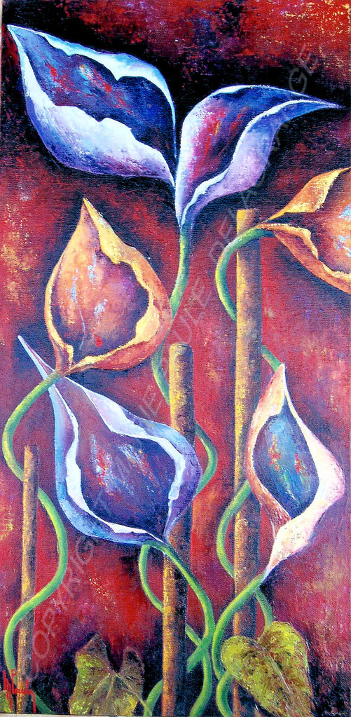 """"""" Fleurs du désir """"    huile sur toile           30 x 60"""