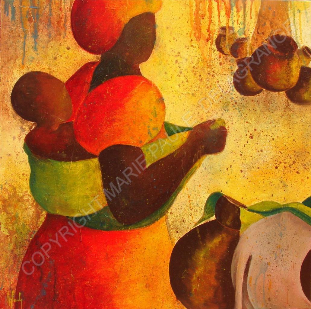 """""""Africaine à l'enfant""""   huile sur toile   50 x 50"""