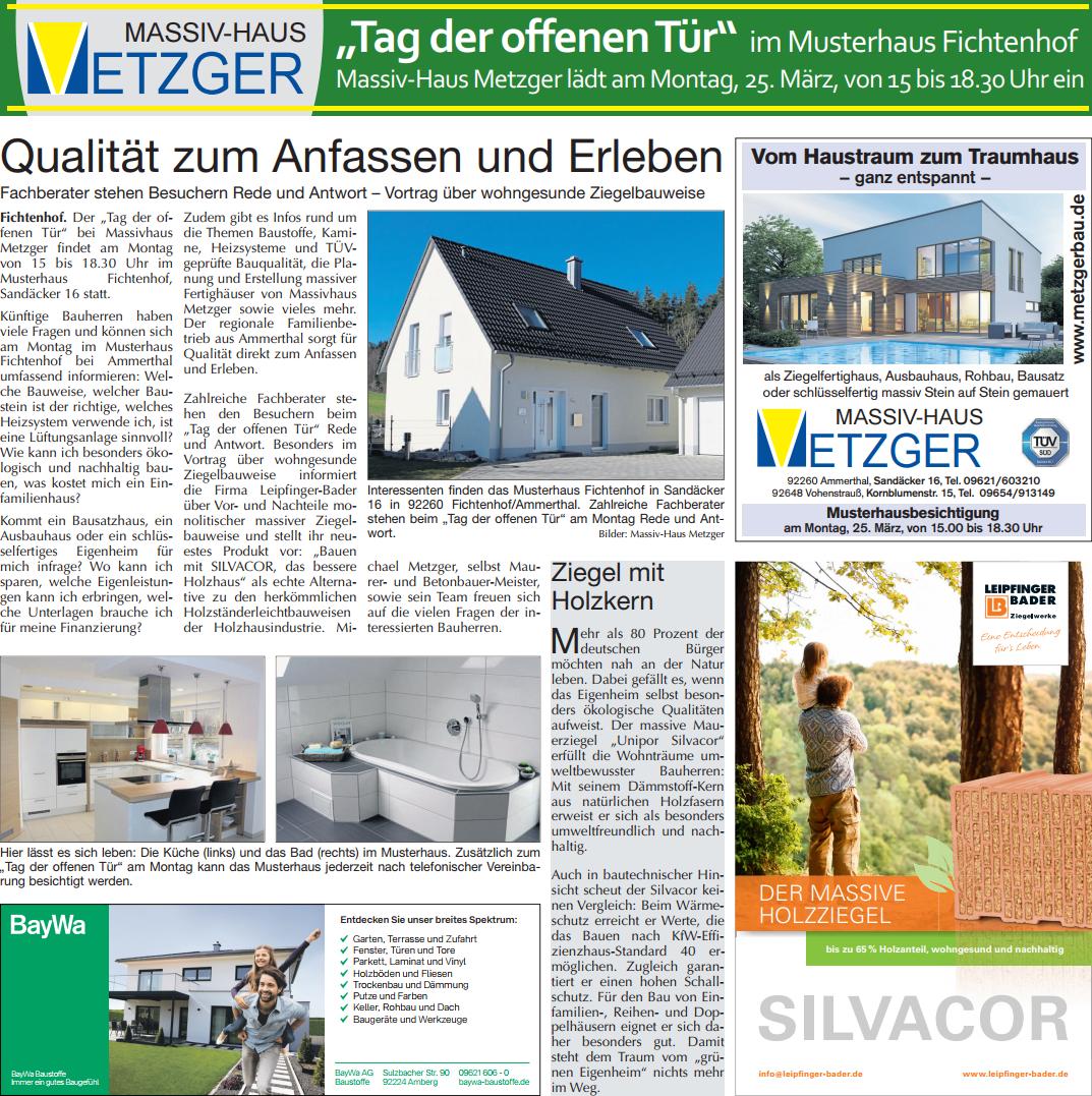 Massivhaus Metzger in der Amberger Zeitung