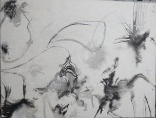 CEHEL -Encre - 50x65 -  2018 - Encre et peinture marouflés sur toile
